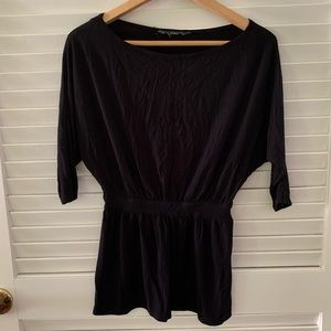 Black 3/4 length cotton shirt